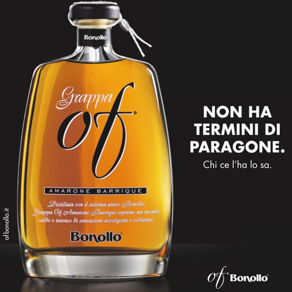 Pubblicità con slogan della Grappa Of Amarone Barrique